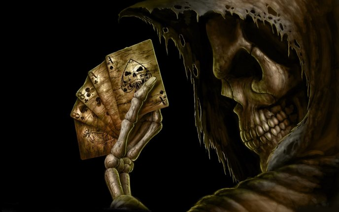 Download Wallpaper Poker with the master skeleton - dark HD wallpaper