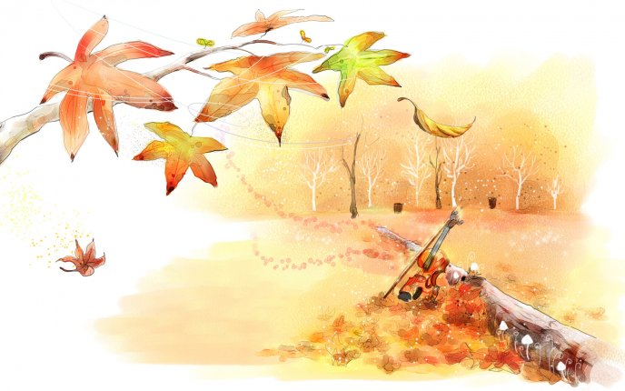 Autumn Leaves On A Beautiful Drawing Hd Wallpaper