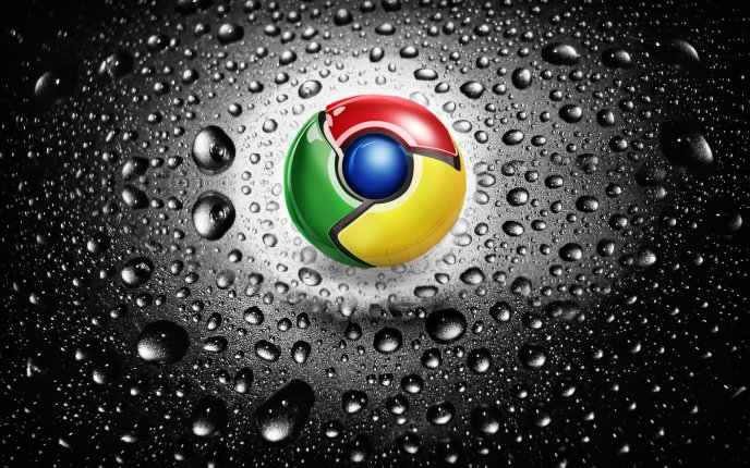 Google Chrome logo and macro water drops - HD wallpaper