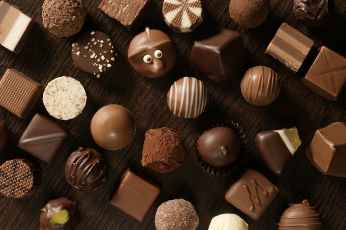 Funny delicious chocolate candies - HD wallpaper
