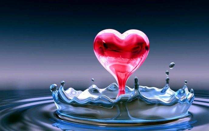 Red heart from water splash - HD wallpaper