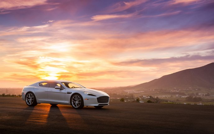 White car in the sunset - HD wallpaper