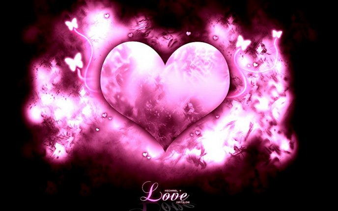 Pink fire heart - love is in the air
