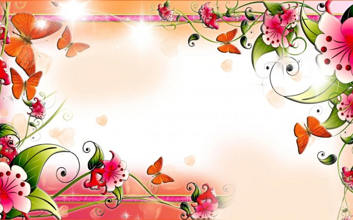 Flowers and butterflies on the wall - spring HD wallpaper