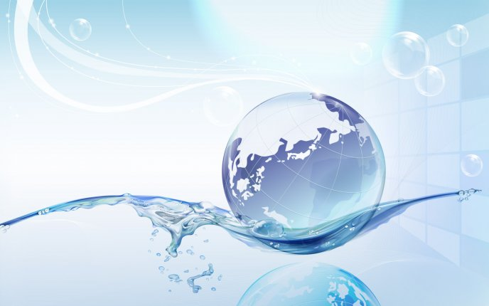 Big world on a drop of water- Abstract HD wallpaper