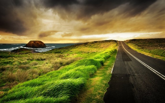 Beautiful road near the sea - HD nature landscape