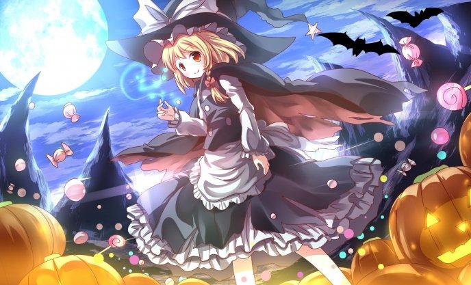 Anime Halloween wallpaper - flying candies and big pumpkins