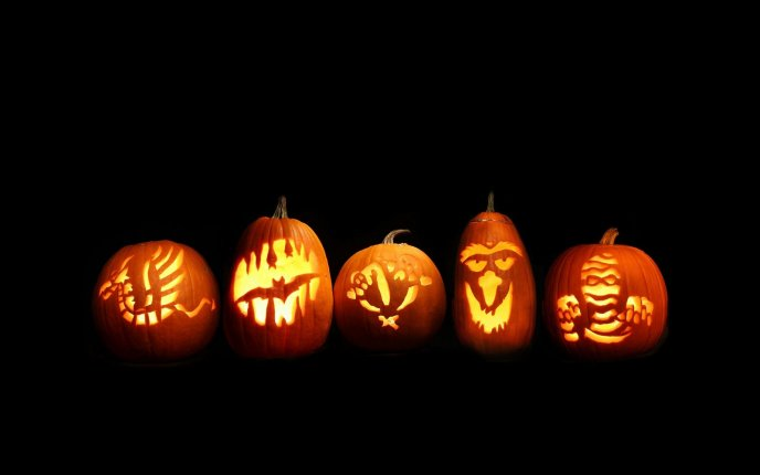 Funny pumpkins in the dark - Hd wallpaper