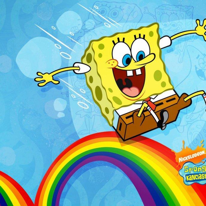 Funny cartoons lovely spongebob run on the raibow voltagebd Images