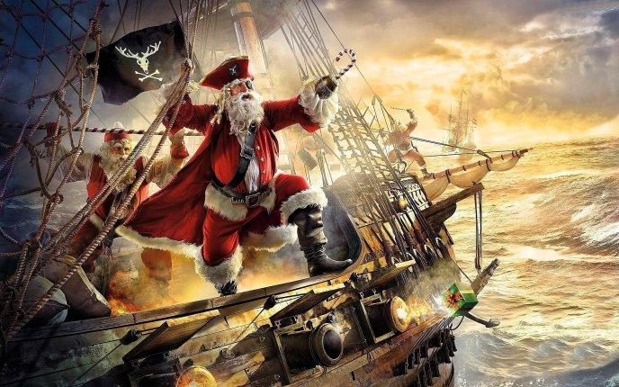 Funny Christmas Wallpaper.Pirate Santa Claus Funny Christmas Wallpaper
