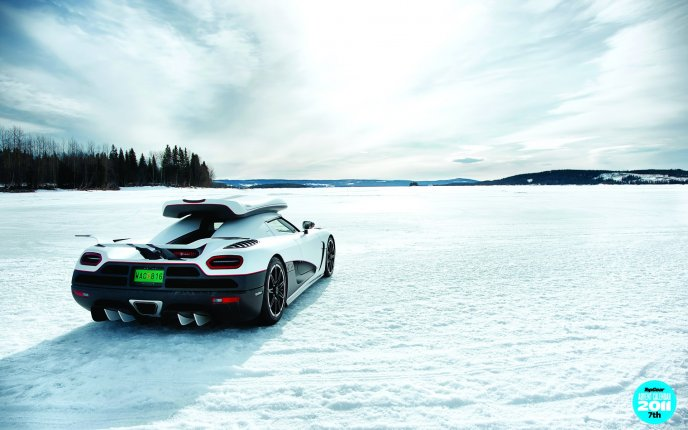 Sport white car on the snow - HD winter wallpaper
