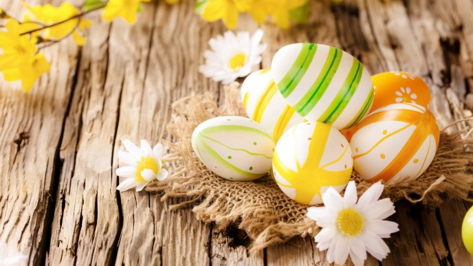 Easter eggs on the wood - Happy Spring Holiday