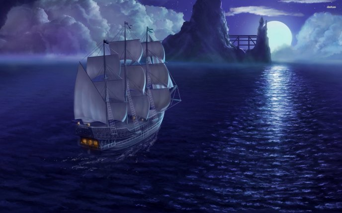 Pirate ship sailing in the moonlight