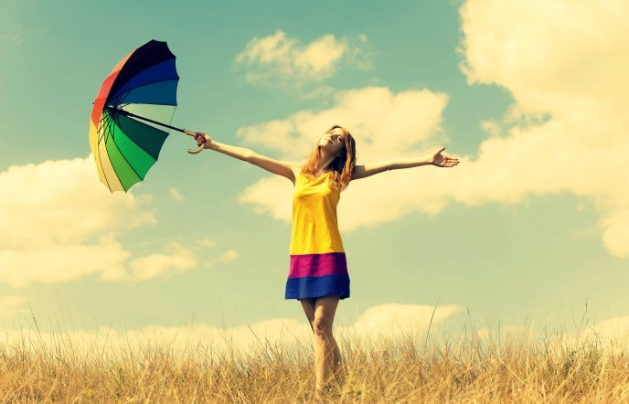 Download Wallpaper Happiness everywere - colorful umbrella