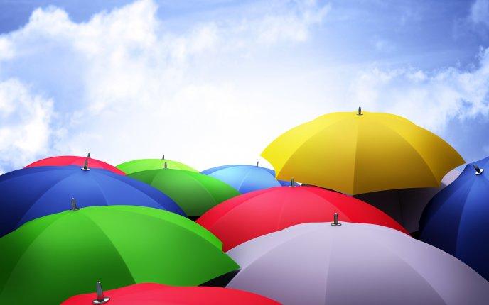 Colourful Umbrellas In The Sky HD Wallpaper