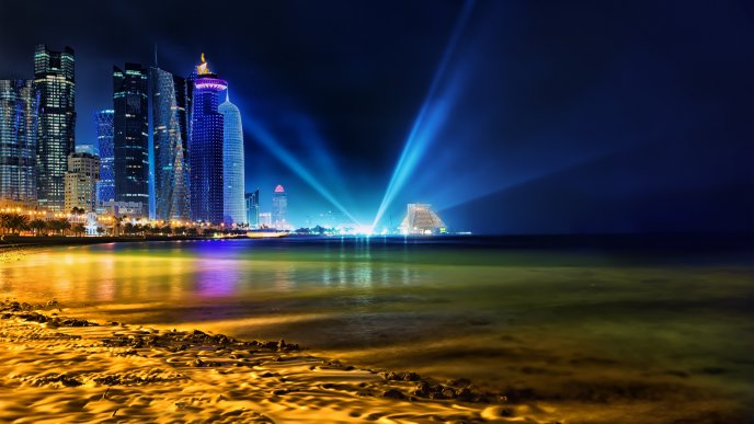 Qatar at night at the beach