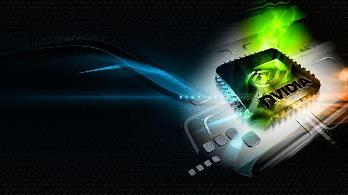 Nvidia Windows 7 Black Abstract Wallpaper