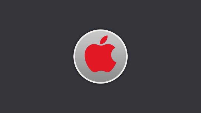 Red Apple Logo In A Gray Circle Hd Wallpaper