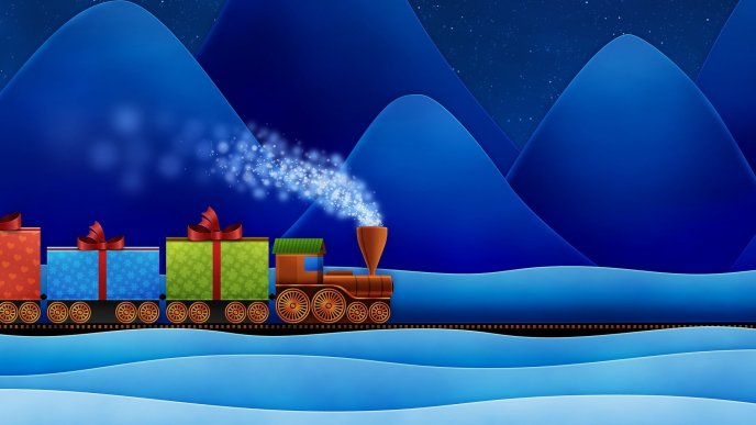 A train with colored gifts between mountains and snow
