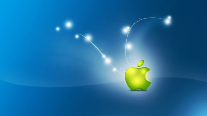 Bright green apple logo on blue background