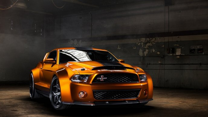 Orange Ford Mustang Shelby GT500