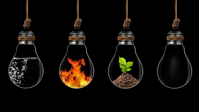 All Elements Of Life In Hanging Bulbs Abstract Wallpaper
