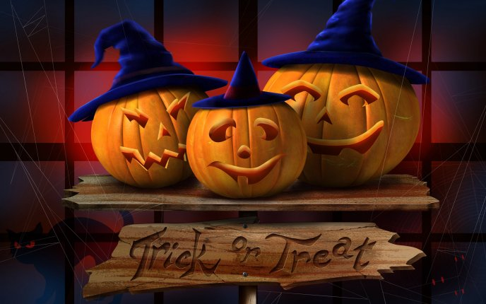 Happy Three Pumpkins Hd Halloween Wallpaper