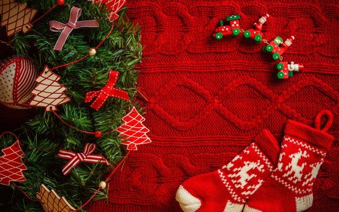 Red christmas socks happy winter holiday voltagebd Gallery