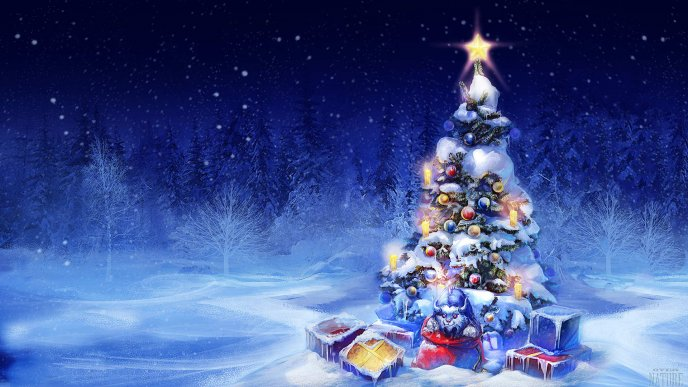 Beautiful Christmas.Beautiful Christmas Tree In The Middle Of The Forest