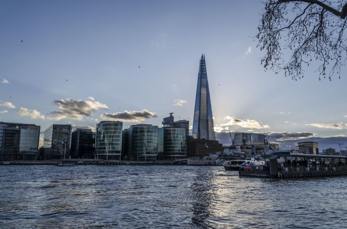 The Shard at noon - view from across the Thames