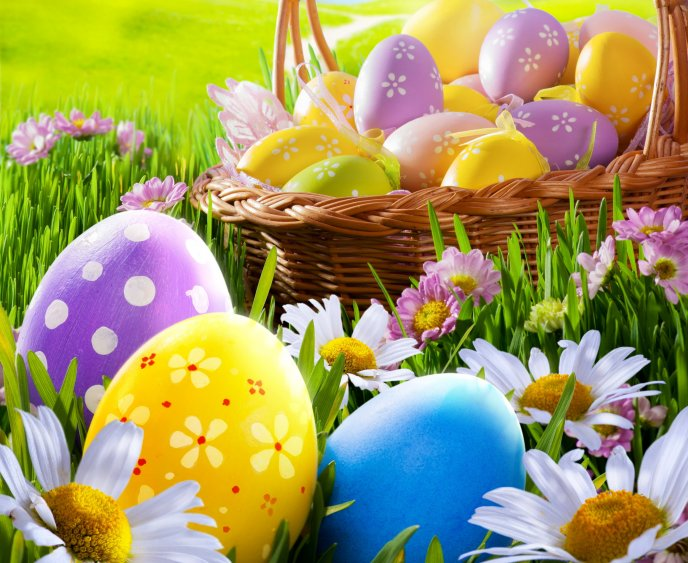 Happy Easter Holiday Basket Full With Coloured Eggs