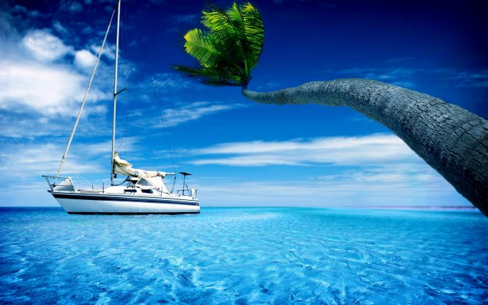 Magic holiday moments on a yacht in the blue water