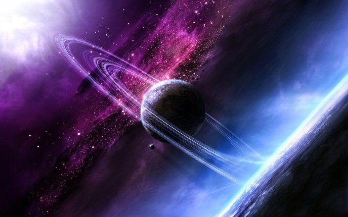 Beautiful space view - purple and blue colours and planets