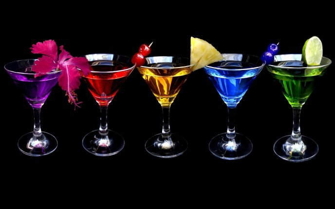 Cocktail With Alcohol In Different Colors Hd Wallpaper