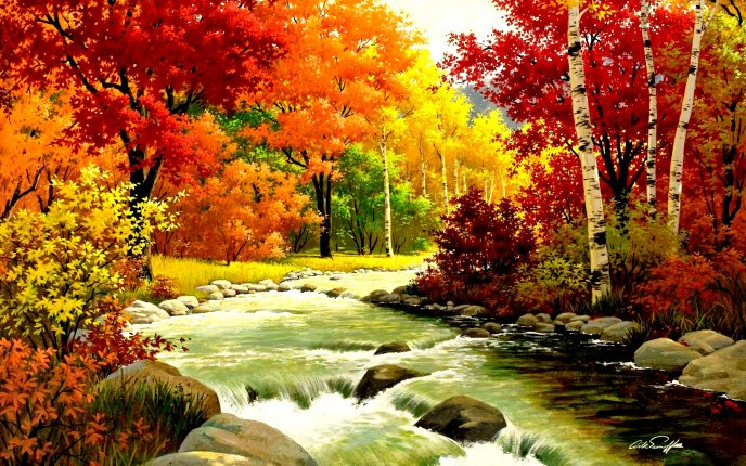Mountain river and a wonderful Autumn landscape