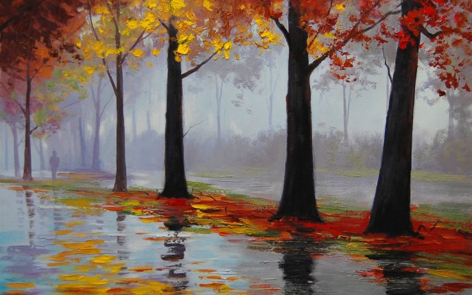 Original painting - Wonderful rain in the park-Autumn season