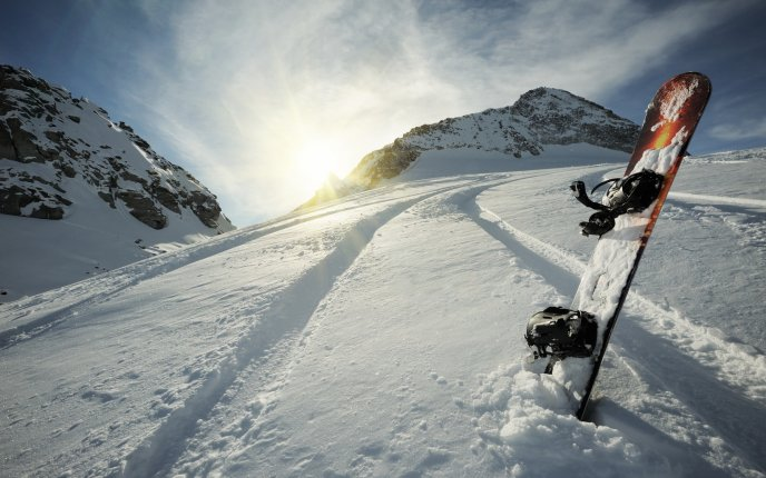 Snowboard in the snow - Cool winter sport