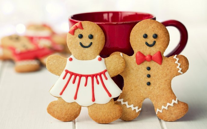 Boy and girl - ginger biscuits for Santa Claus