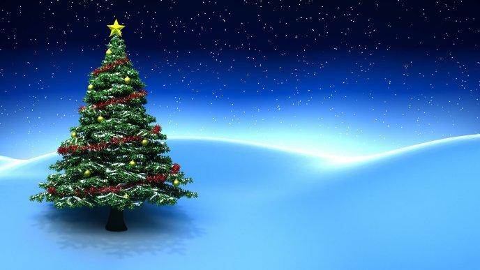 Christmas Tree Images Hd.Christmas Tree On A Magic Blue Night Hd Wallpaper