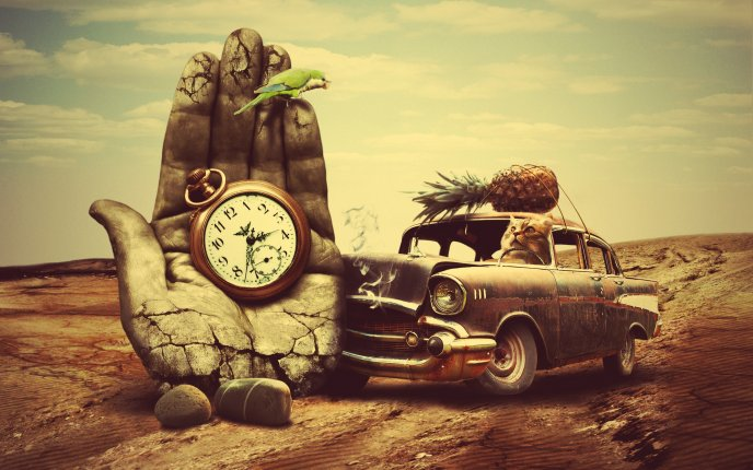 Rusty old car, clock hand and animals -Creative HD wallpaper