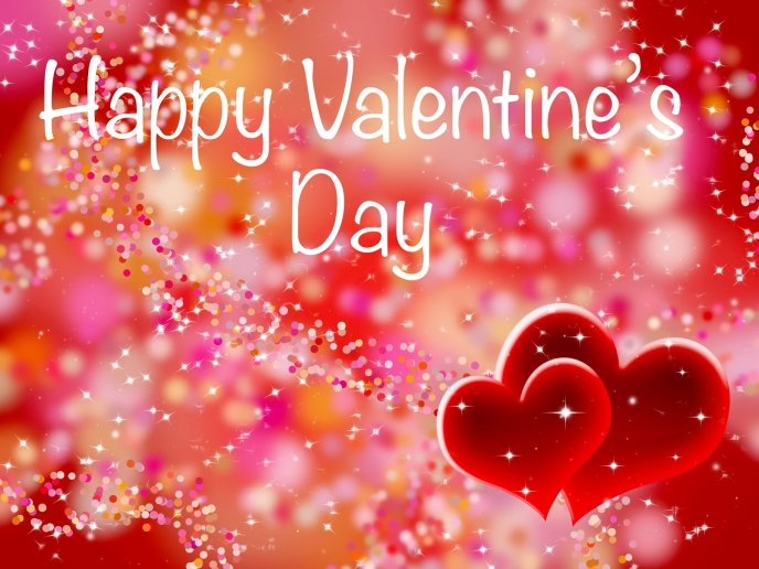 Sweet red and shiny wallpaper - Happy Valentines Day