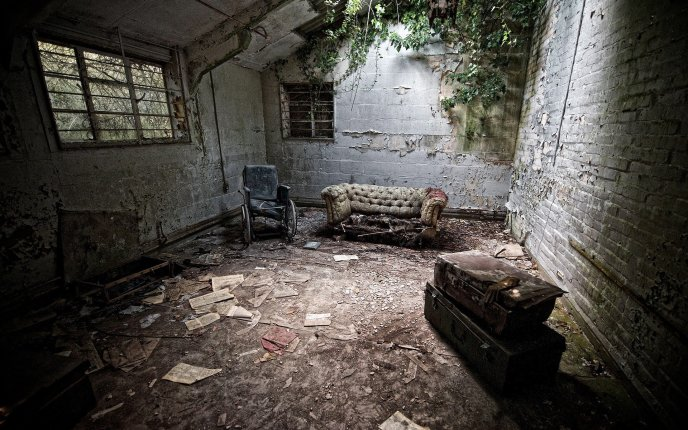 Old furniture in a destroyed house - HD wallpaper