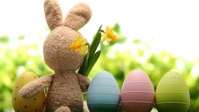 Friends - Brown rabbit with spring flowers and Easter eggs