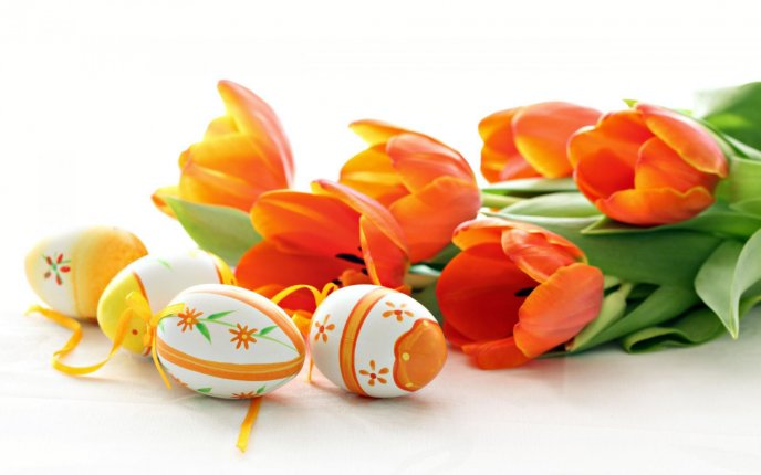 Wonderful Orange Easter eggs and red tulips - Happy Holiday