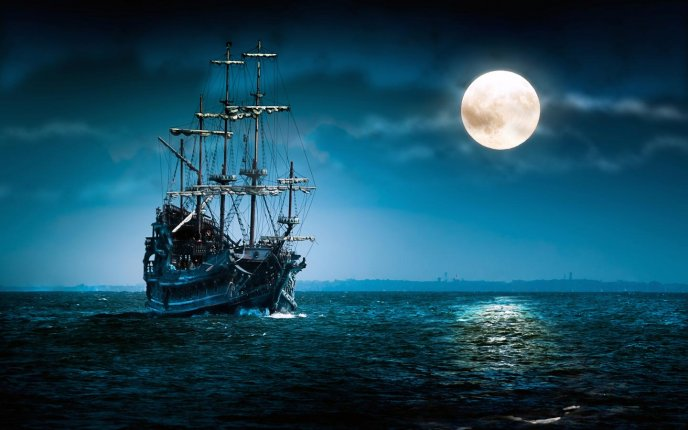 Download Wallpaper Old sheep in the calm ocean water - Big moon at midnight