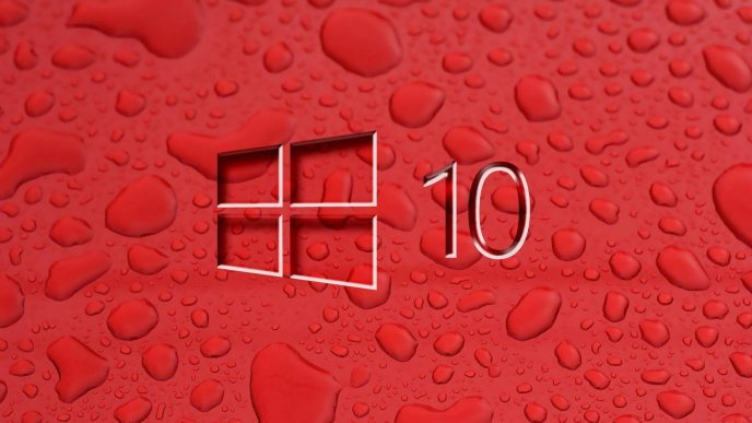 Red Windows 10 - Big water drops on the wall