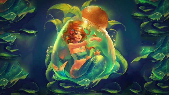 Light from an orange over a beautiful mermaid - Fantasy