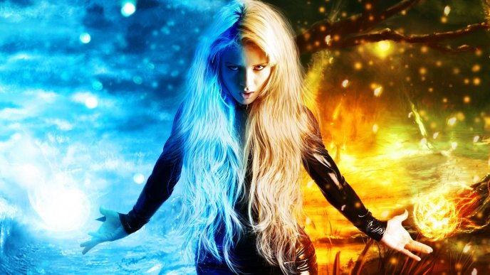 Girl between ice and fire - Magic HD wallpaper