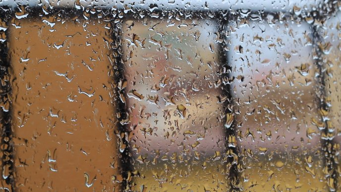 Big water drops on the window - Rainy Autumn day