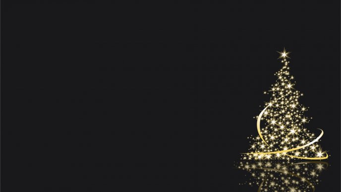 Small golden Christmas tree in the dark night - HD wallpaper